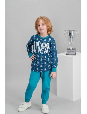 U.S. Polo Assn Lisanslı Lacivert Erkek Çocuk Pijama Takımı V1