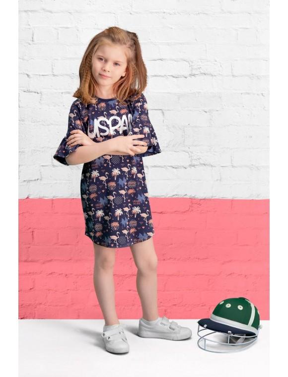 U.S. Polo Assn Lisanslı Lacivert Kız Çocuk Elbise US-454-C-V2