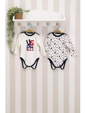U.s. Polo Assn Lisanslı Lacivert Krem Bebek 2'li Body Zıbın