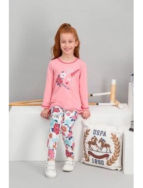 U.S. Polo Assn Lisanslı Şeker Pembe Kız Çocuk Pijama Takımı V2
