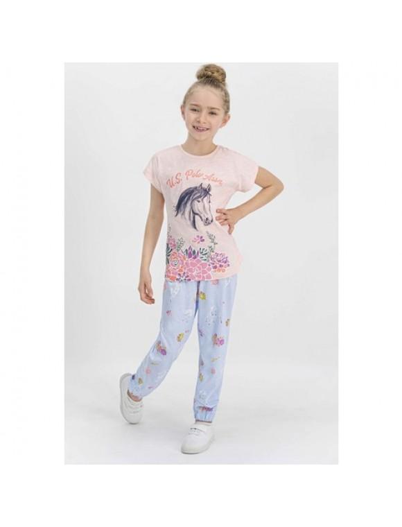 U.S. Polo Assn Lisanslı Somon Kız Çocuk Pijama Takımı