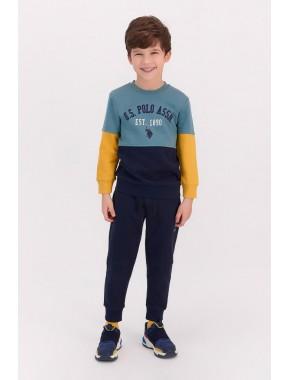 U.s. Polo Assn Petrol Mavisi Erkek Çocuk Ribanalı Eşofman Takımı