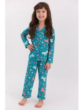U.s. Polo Assn Yıldızlı Koyu Petrol Gömlek Pijama Takımı