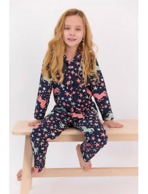 U.s. Polo Assn Yıldızlı Lacivert Gömlek Pijama Takımı