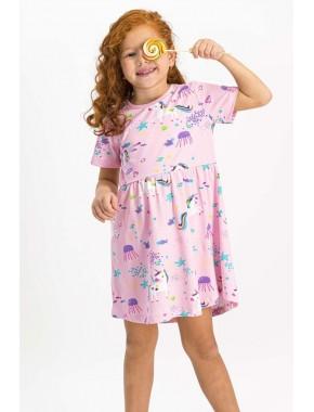 Unicorn Açık Pembe Kız Çocuk Homewear Elbise