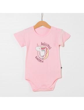 Unicorn Kız Bebek Kısa Kol Badi