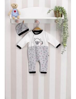 Unısex Bebek Beyaz Uzun Kol 2'li Patiksiz Tulum Usb092