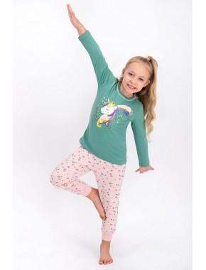 Yeşil Lisanslı Kız Çocuk Pijama Takımı